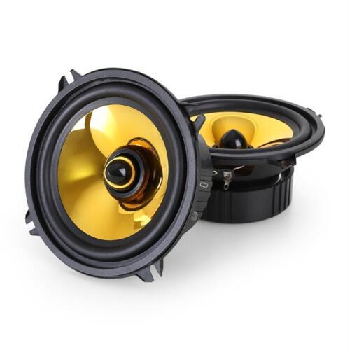 "5/"" PAIR GOLD HIFI SPEAKERS COAXIAL IN CAR SET 1000W POWERED DOOR SHELF BOOT NEW"