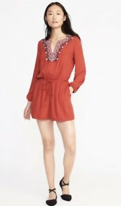 17a2d8b3d24b OLD Navy WOMEN S Rust EMBROIDERED Belted ROMPER Boho XL Pockets NWT ...