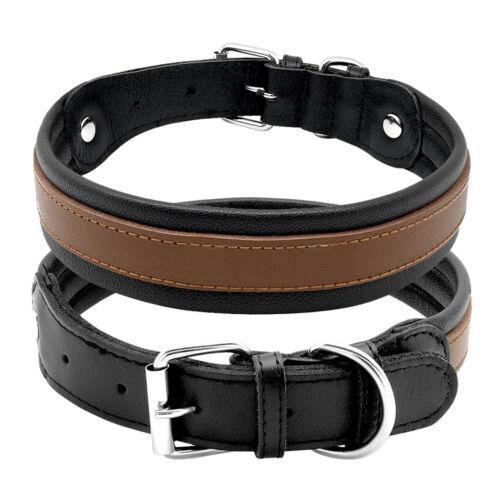 Genuine Leather Black Dog Collars Large Dogs Collar for Pitbull German Shepherd