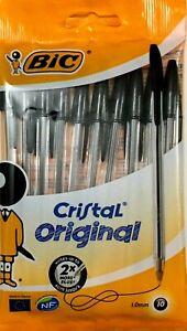BIC-Black-Ballpoint-Pens-10-Pack-Original-Cristal-1-0mm-Point-Size-Medium-Biros