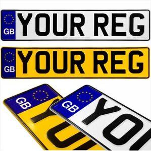 Gb Euro Pair Pressed Number Plates Metal Embossed Car Registration