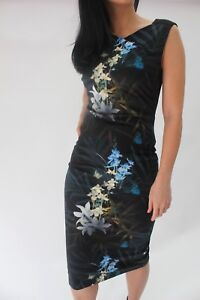 Ted-Baker-Black-Lou-Twilight-Floral-Bodycon-Cocktail-Pencil-Party-Dress-6-to-16