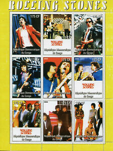 Music-Stamps-2005-MNH-Rolling-Stones-Mick-Jagger-Ronnie-Wood-Famous-People-9v-MS