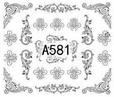 Nail Art Decals Transfers Stickers Lace Pattern (A-581)