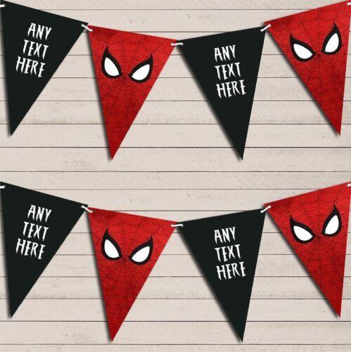 Superhero Spiderman Children/'s Birthday Bunting Garland Personalised Flag Banner