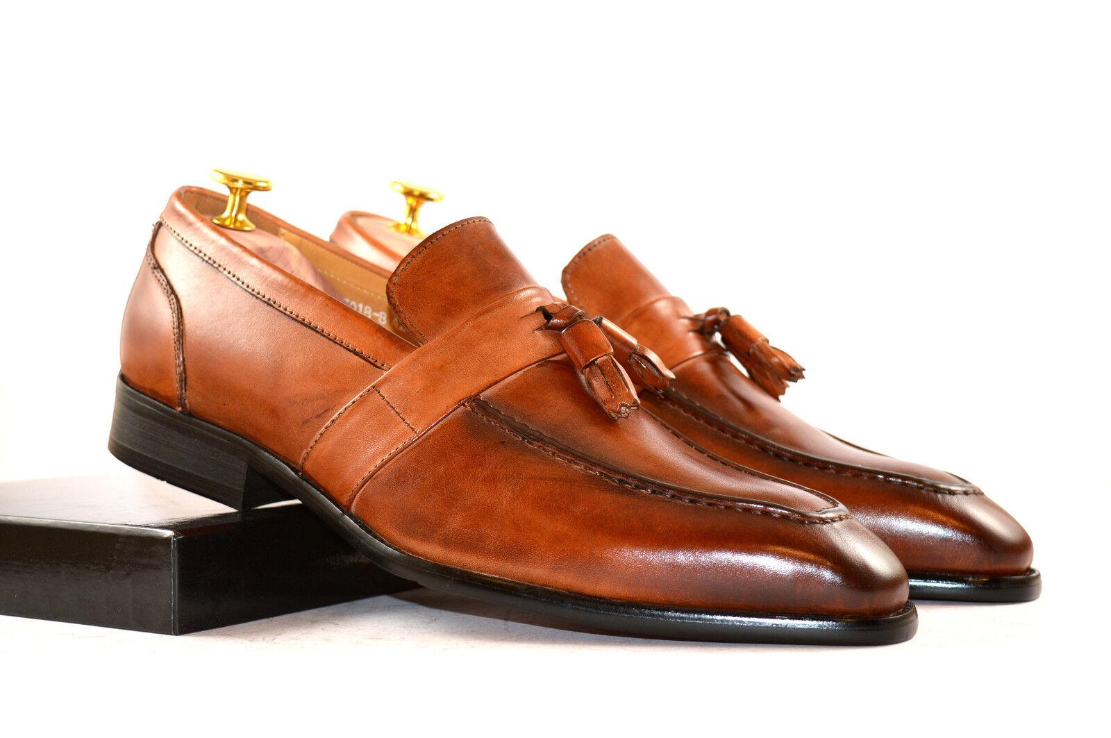Neu Herren Businessschuhe braun Loafer Quasten Handmade Echtleder braun Businessschuhe Gr. 41-45 cbf2f7