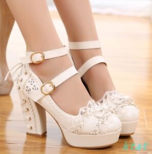 Girls-Sweet-Floral-Round-Toe-High-Heels-Platform-Mary-Janes-Shoes-Womens-Pumps