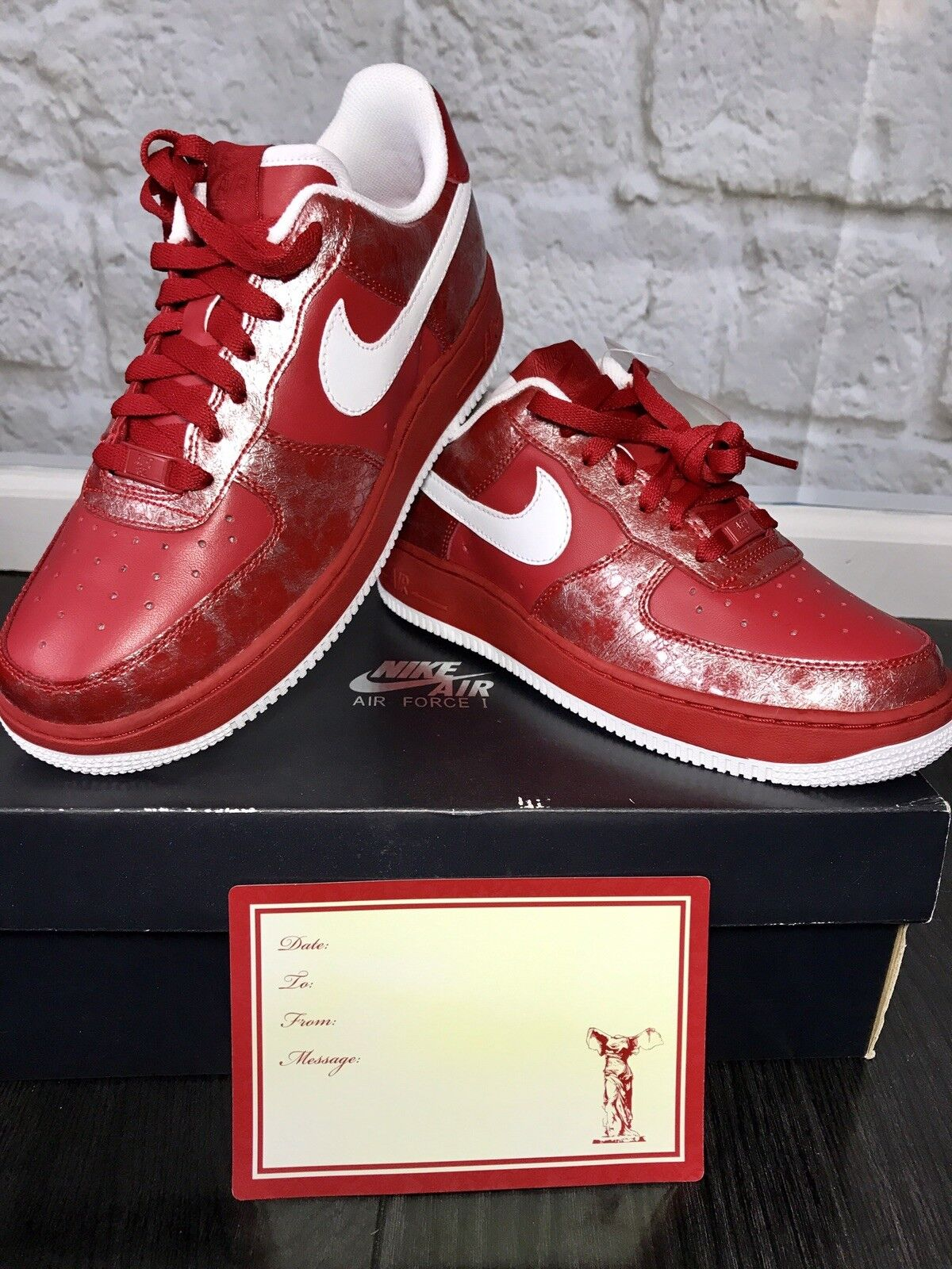 Nike Air Force 1 Low Valentines Varsity Red White Women's 7.5