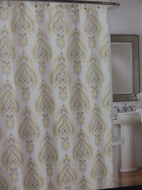 Cynthia Rowley Fabric Cotton Shower Curtain 72x72 Grey And White