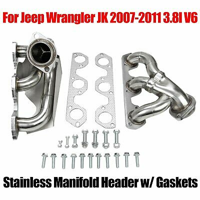 Fits 2007-2010 Jeep Wrangler T-304 Stainless Racing Manifold Header Exhaust
