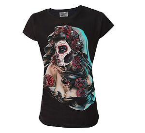 Darkside-Clothing-Day-Of-The-Dead-Sugar-Skull-Rose-Vixen-Fitted-Black-Tshirt