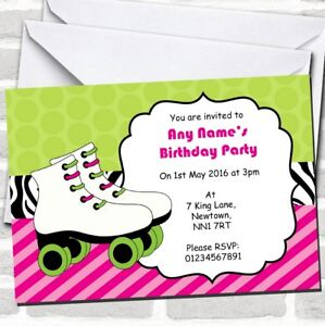 Details About Pink Green Roller Skating Birthday Childrens Party Invitations