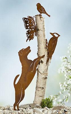 Baumdeko Baumfigur Schmetterling, Eichhörnchen, Hund Rusty NEU Gartendeko