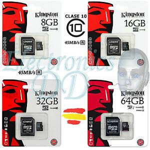 TARJETA-MEMORIA-KINGSTON-CLASE-10-MICRO-SD-ORIGINAL-8-GB-16-32-64-16GB-32GB-64GB