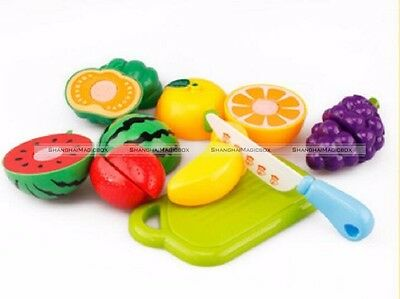 Children Kitchen Cutting Fruits Vegetables Food Playset Role Play Toy Gift S1
