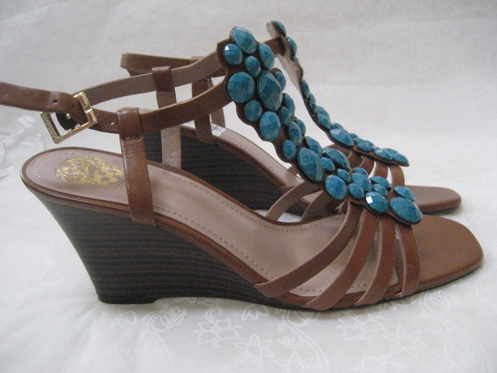 79 VINCE CAMUTO LEATHER BROWN/TURQUOISE JEWELED WEDGE Schuhe SIZE 9 1/2 M- NEU
