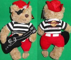 Hard-Rock-Cafe-ST-MAARTEN-2011-PIRATE-Teddy-Bear-PLUSH-New-w-Tag-PEG-LEG-Guitar
