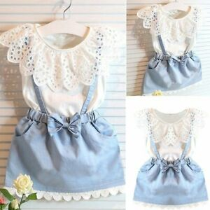 09017efb8 Toddler Kids Baby Girls Summer Outfits Clothes T-shirt Tops+Denim ...