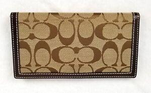 Women-039-s-COACH-Signature-Monogram-Canvas-Leather-Brown-Checkbook-Pen-BiFold