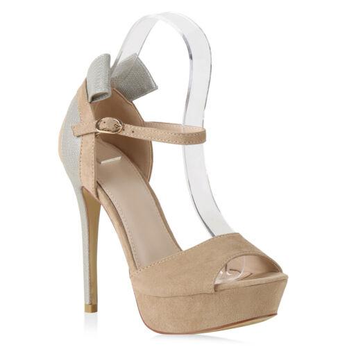 Damen Abiball Plateau Sandaletten High Heels Party Hochzeit 821795 Trendy