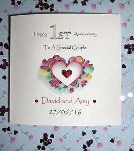 Happy 1st wedding anniversary handmade card paper anniversary image is loading happy 1st wedding anniversary handmade card paper anniversary m4hsunfo