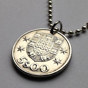 1986-Portugal-5-Escudos-coin-pendant-Portuguese-ship-caravela-Lisbon-n001538b