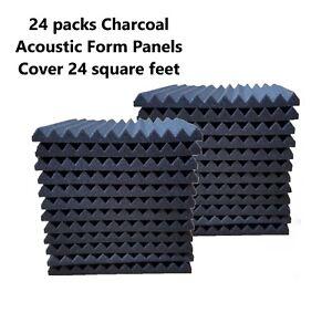 24-Acoustic-Foam-Panel-Wedge-Studio-Soundproofing-Tiles-12x12x1-Charcoal