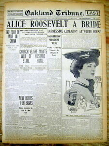 2 1906 Display Newspapers Wedding Of Teddy Roosevelt Daughter Alice