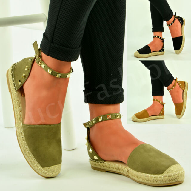 New Womens Ladies Ankle Strap Sandals Rock Stud Espadrilles Summer Shoes Size Uk
