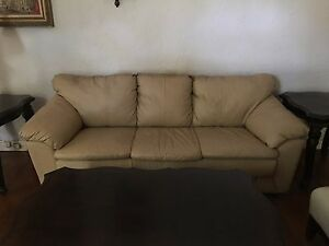Image Is Loading 57529 T7 Wheat Colored Leather Sofa Seldom Used