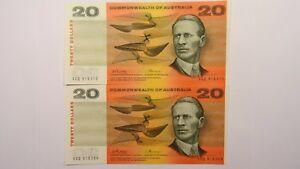 1972-Twenty-Dollars-Phillips-Wheeler-Consecutive-Pair-of-Banknotes