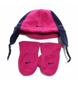 Nike-Air-Girls-Pink-Infant-Hat-Beanie-and-Gloves-Set-Size-2T-4T