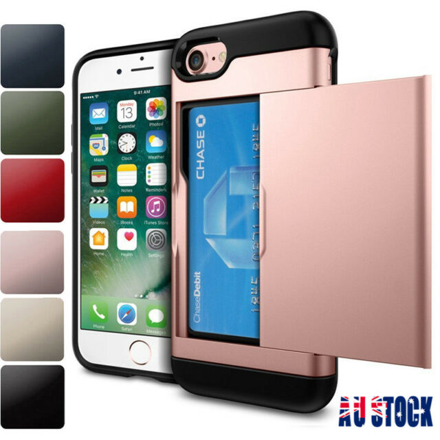 For iPhone XS XR 8 7 6S Hard Hybrid Armor Case Cover With Slide Card Slot Holder