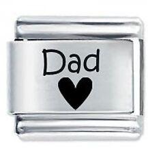 DAD HEART - 9mm Daisy Charms by JSC Fits Classic Size Italian Charm Bracelet