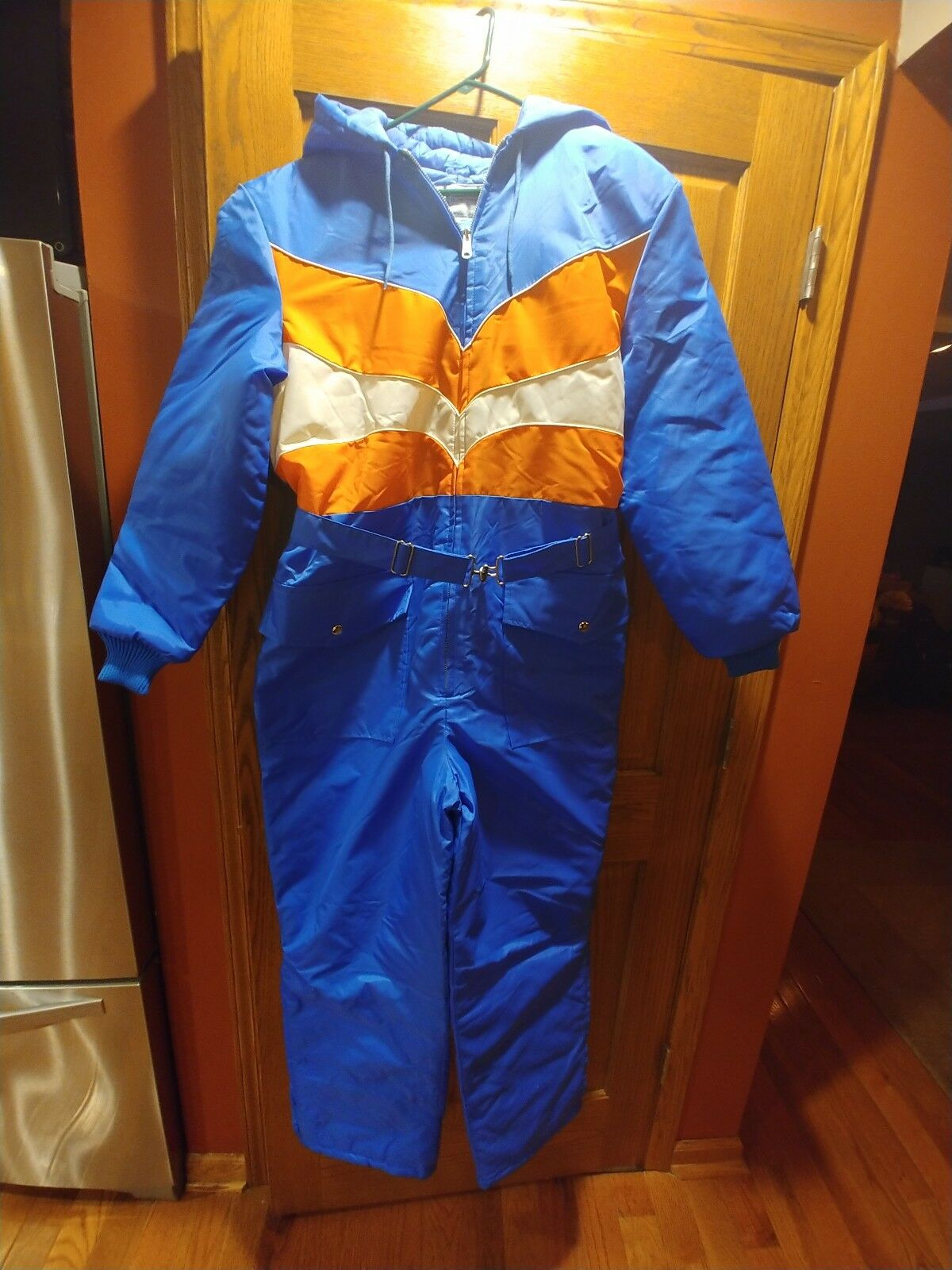 Vtg 80s SUIT SKI SUIT 80s One piece FULL ZIP Snow Bib Snowsuit Größe 20 Orange Blau Weiß 5d7a27