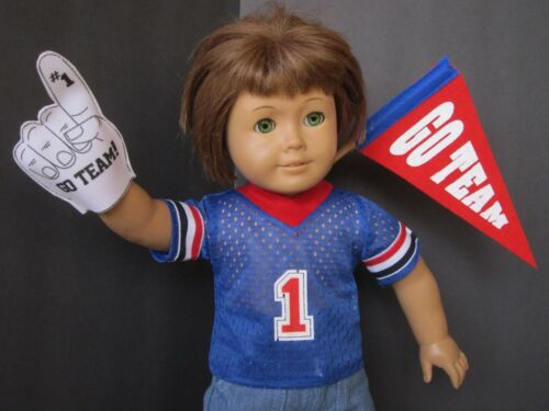 """#1 BLUE SPORT JERSEY with Foam Finger and /""""Go Team/"""" Pennant fits American Girl"""