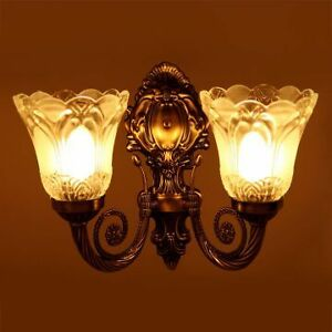 Marvelous Image Is Loading Antique Look Double Glass Lamp Wall Light Decorative