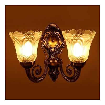 Antique Look Double Glass Lamp Wall Light/ Decorative Night Lamp By Dreamzdecor