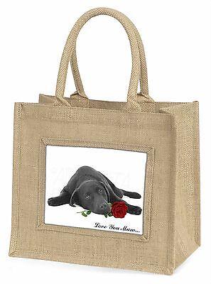 Labrador mit Rosé 'Liebe, die Sie Mama' groß Natürliche Jute Einkauf Tasche,