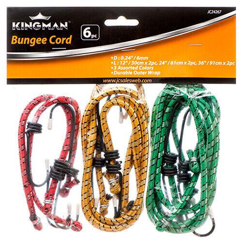 "6 Bungee Cord 12/"" 24/"" 36/"" inch Heavy Duty Straps total 12 Hooks Tie Down Set"