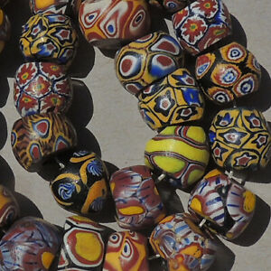 a-variety-of-26-old-antique-venetian-millefiori-african-trade-beads-4855