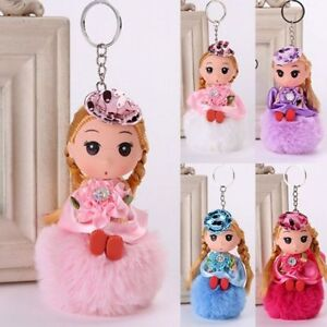 Artificial-Jewelry-Little-Princess-Keyring-Pendant-Doll-Key-Chain-Fur-Fluffy