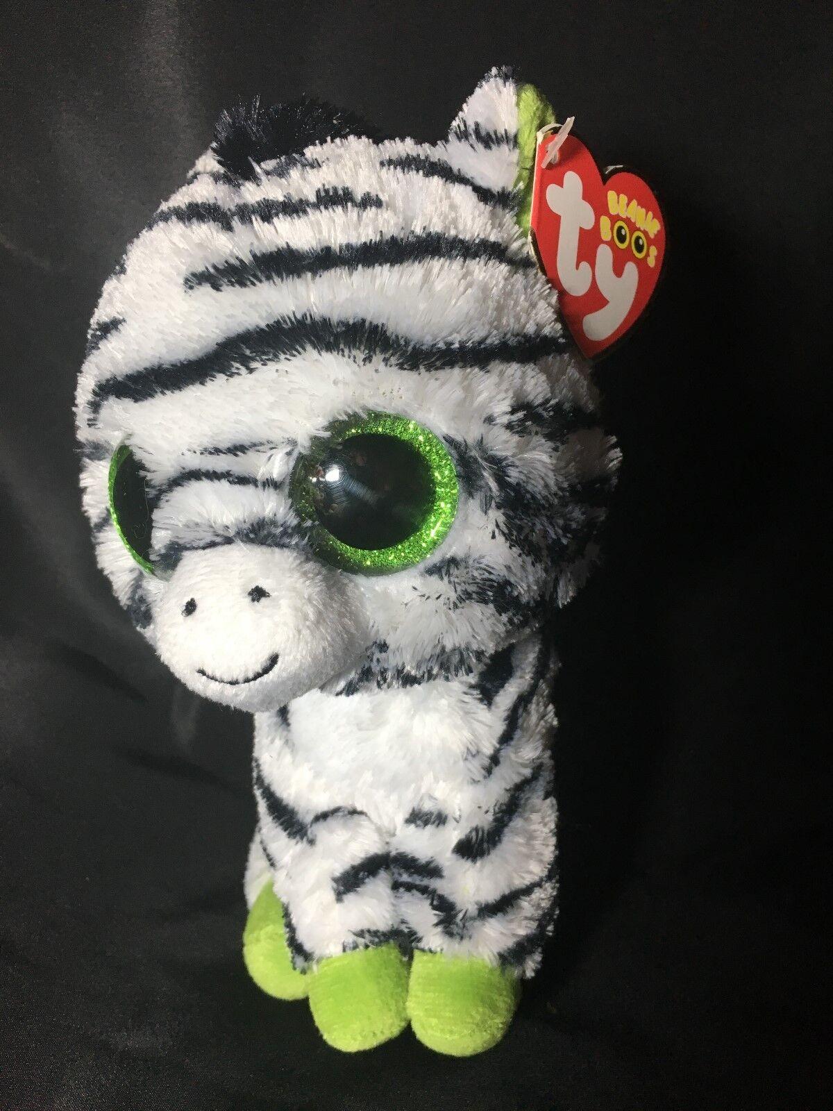 """Original ty Beanie Boos zig-zag Zebra Plush Doll Toy 6/"""" New Without Tag Gift"""