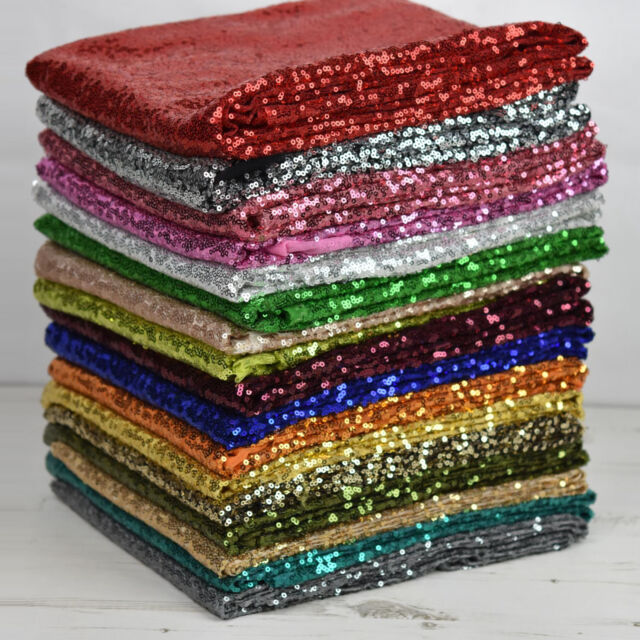 """Sequin All-Over Stitched Showtime Dress Dance Fabric 54"""" Wide - Sold Per Metre"""