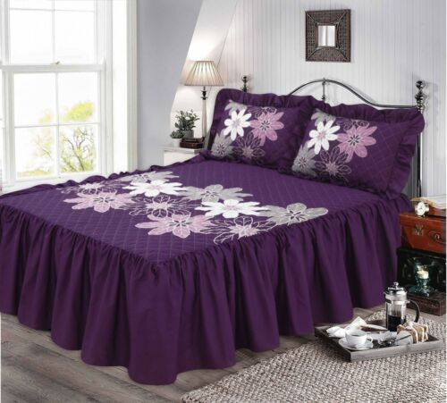 "Quilted Bedspread 23/"" Frill Floral Print Bedding Set Single King Sizes Double"