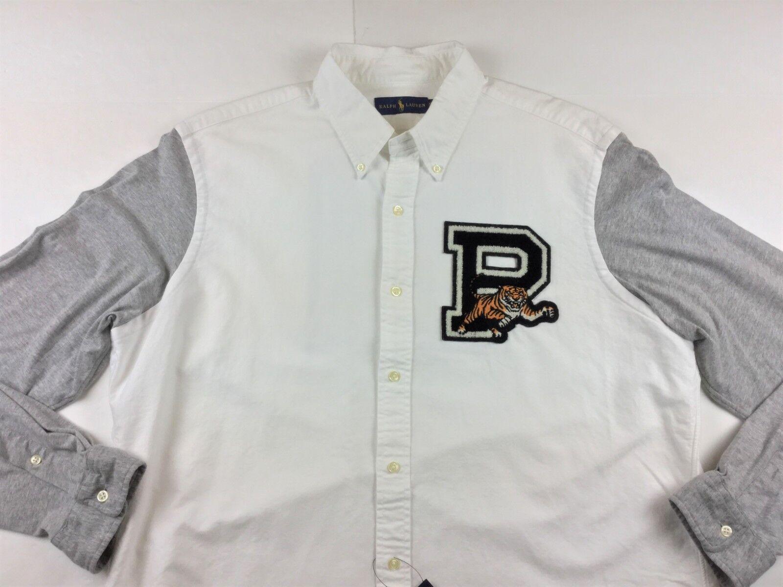 Polo Ralph Lauren Men Big P Patch Tiger Jersey Sleeve Button Down Shirt M XL