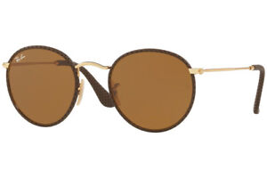2fc4ed0365d Image is loading NEW-RAY-BAN-ROUND-CRAFT-Leather-Brown-Gold-