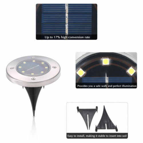 10X 8LED Solar Power Buried Licht Bodenleuchte Outdoor Garten Terasse Warmweiß