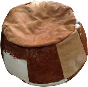 SALE-REDUCED-Contemporary-Brown-and-White-Hair-on-Hide-Leather-Bean-Bag