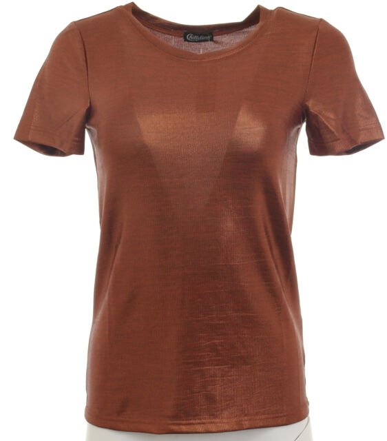 65031bb886e T-Shirt Femmes à Paillettes Manches Courtes Haut Tunique Bronze Taille 34  373497